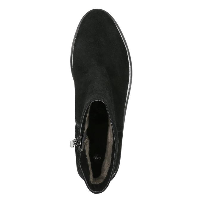 Kožená kotníčková obuv se stříbrným lemem bata, černá, 593-6603 - 26