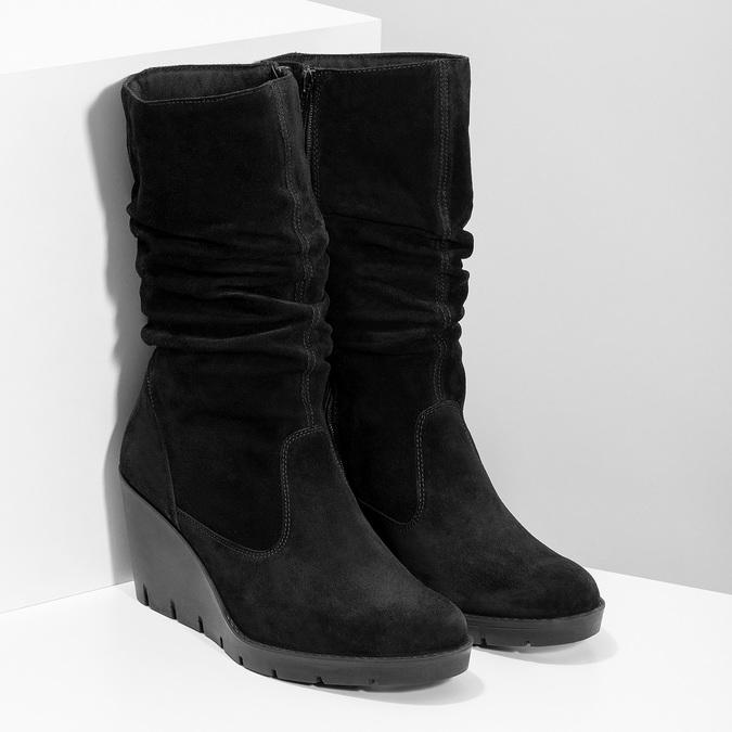 Kožené dámské kozačky na klínku bata, černá, 796-6646 - 26