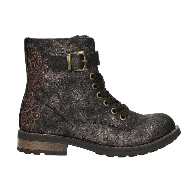 Dětská zimní obuv s výšivkou mini-b, hnědá, 391-8654 - 15