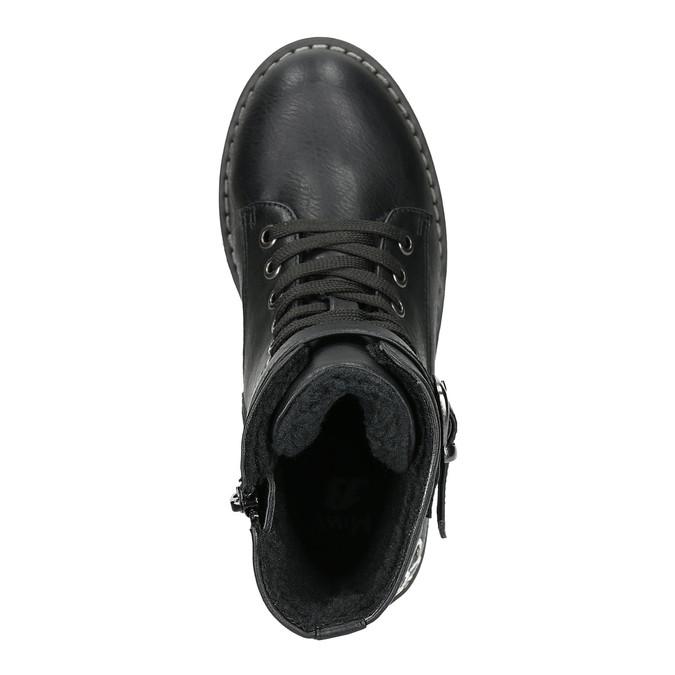 Kotníčková dětská obuv s výšivkou mini-b, černá, 391-6654 - 26
