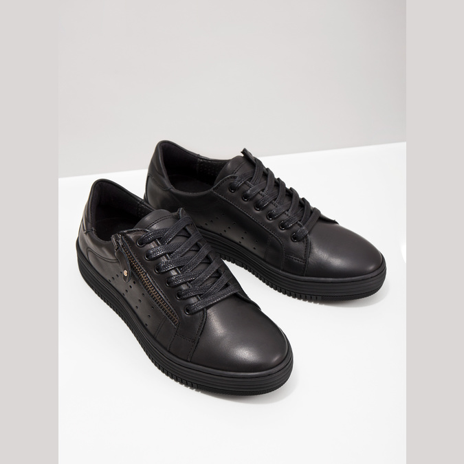 Dámské kožené tenisky bata, černá, 526-6630 - 18