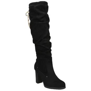 Černé dámské kozačky na podpatku bata, černá, 799-6614 - 13