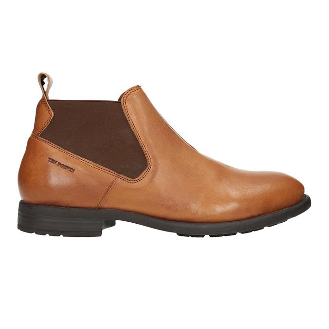 Kožená kotníčková obuv s pružnými boky ten-points, hnědá, 816-3036 - 26