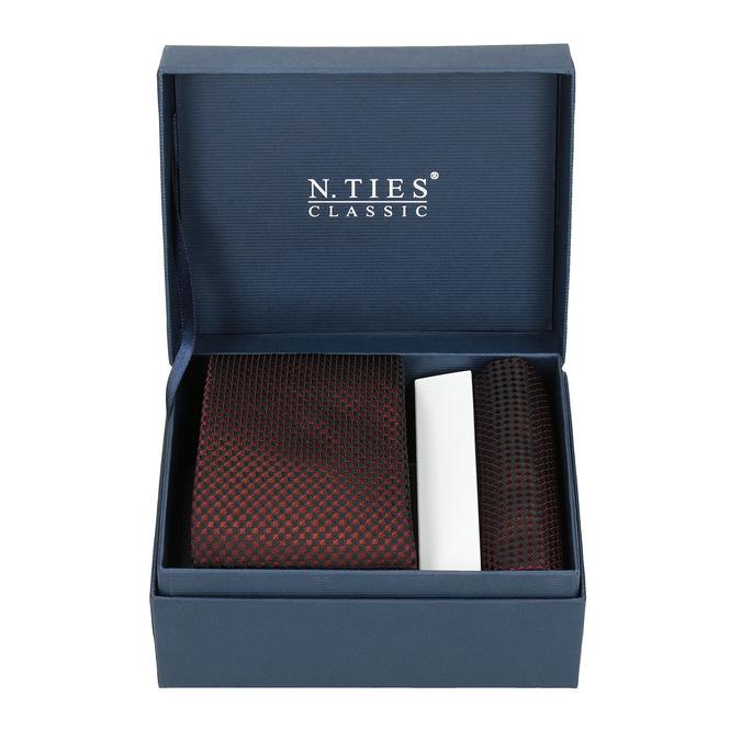 Sada kravaty a kapesníčku se vzorem n-ties, červená, 999-5292 - 13