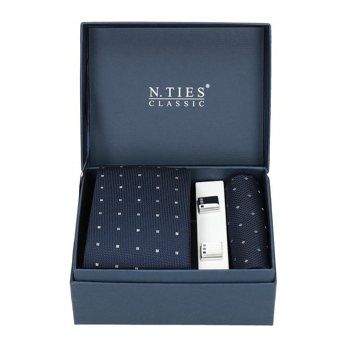 Sada kravaty, kapesníčku a manžetových knoflíčků n-ties, modrá, 999-9295 - 13