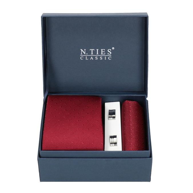 Sada kravaty, kapesníčku a manžetových knoflíčků n-ties, červená, 999-5291 - 13