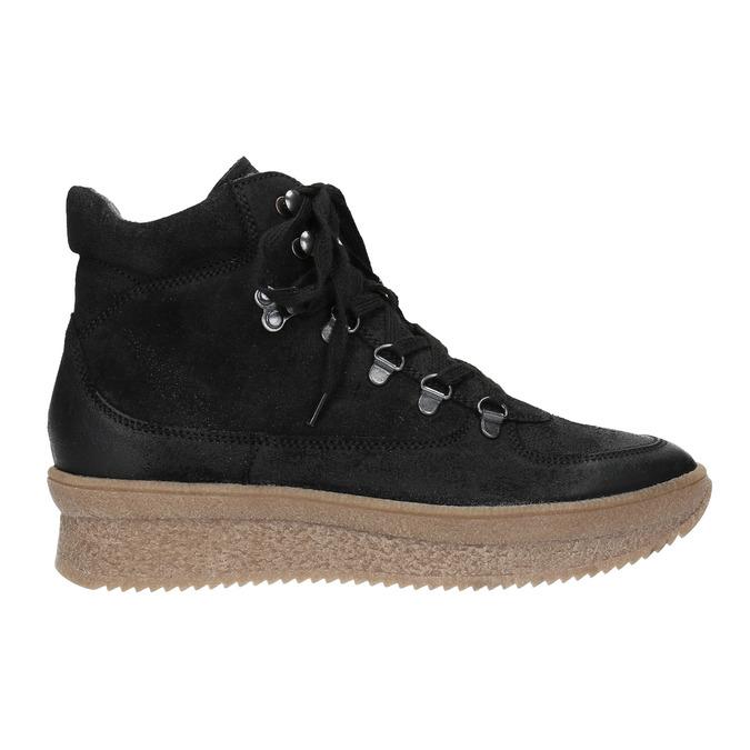 Kožená kotníčková obuv se šněrováním bata, černá, 596-6673 - 26