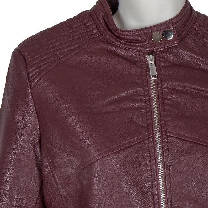 Vínová koženková bunda bata, červená, 971-5203 - 16