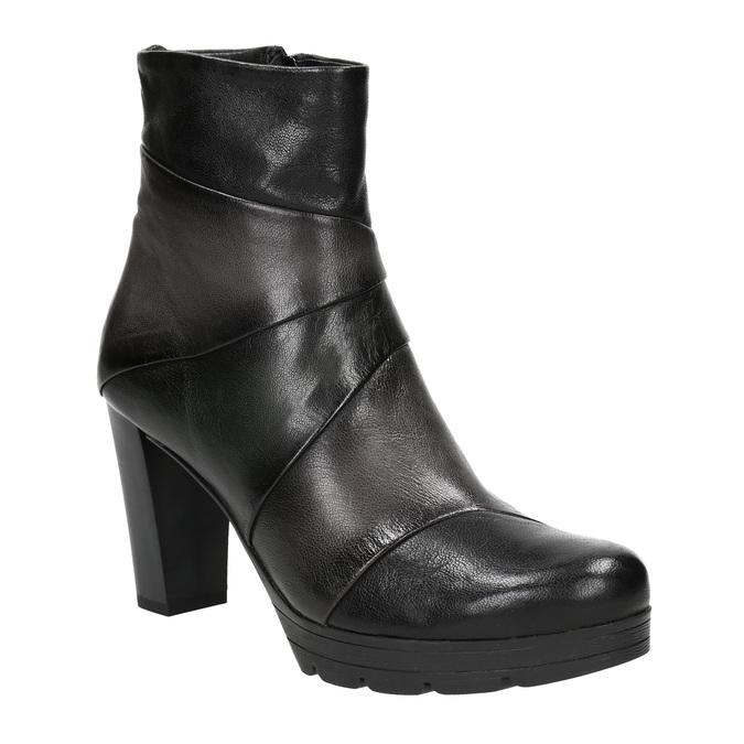 Kožená kotníčková obuv na podpatku bata, šedá, 796-2650 - 13