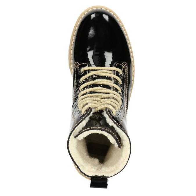 Lakovaná kotníčková obuv s masivní podešví weinbrenner, černá, 598-6604 - 15