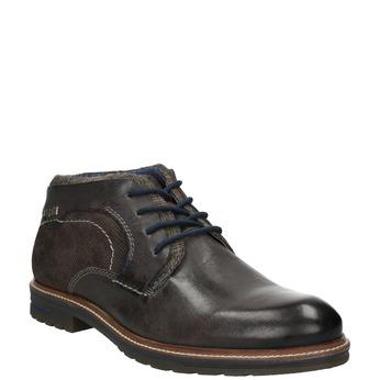 Pánská kotníčková obuv s prošitím bugatti, šedá, 826-2011 - 13