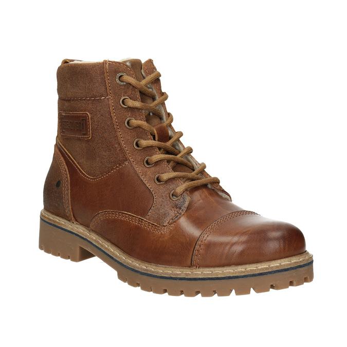 Dívčí kožená kotníčková obuv bullboxer, hnědá, 494-3022 - 13
