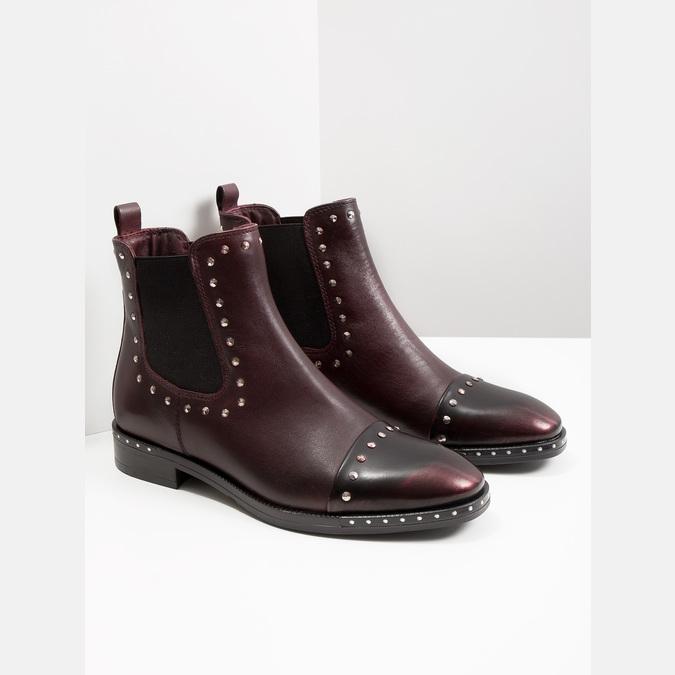 Kožená dámská Chelsea obuv bata, červená, 596-5679 - 18