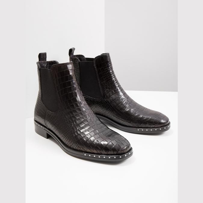 Kožená dámská Chelsea obuv se strukturou bata, černá, 596-6678 - 18