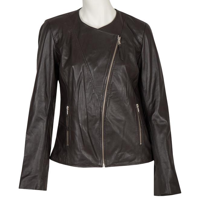 Dámská kožená bunda s asymetrickým zipem bata, hnědá, 974-4177 - 13