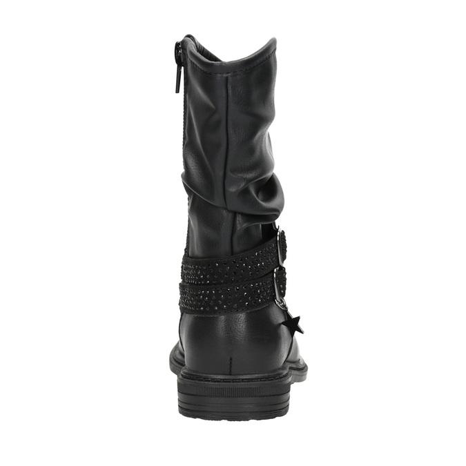 Dívčí kozačky s kamínky mini-b, černá, 291-6397 - 16