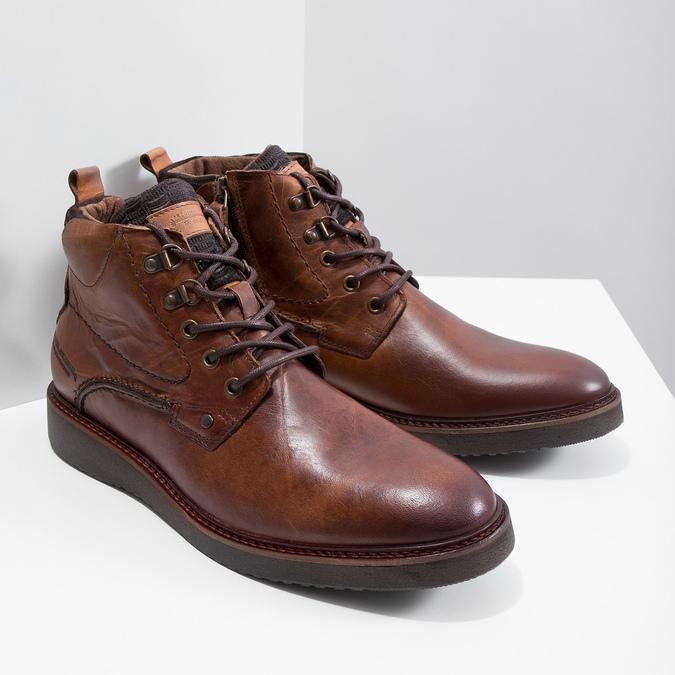 Kožená kotníčková obuv bata, hnědá, 896-3675 - 18