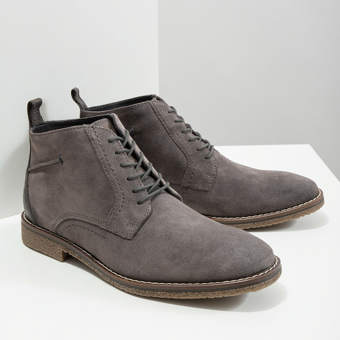 Kožená pánská kotníčková obuv bata, šedá, 823-2615 - 18