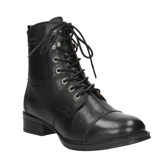 Kožená šněrovací obuv nad kotníky ten-points, černá, 626-6037 - 13