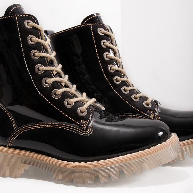 Lakovaná kotníčková obuv s masivní podešví weinbrenner, černá, 598-6604 - 14