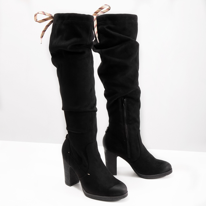 Černé dámské kozačky na podpatku bata, černá, 799-6614 - 18