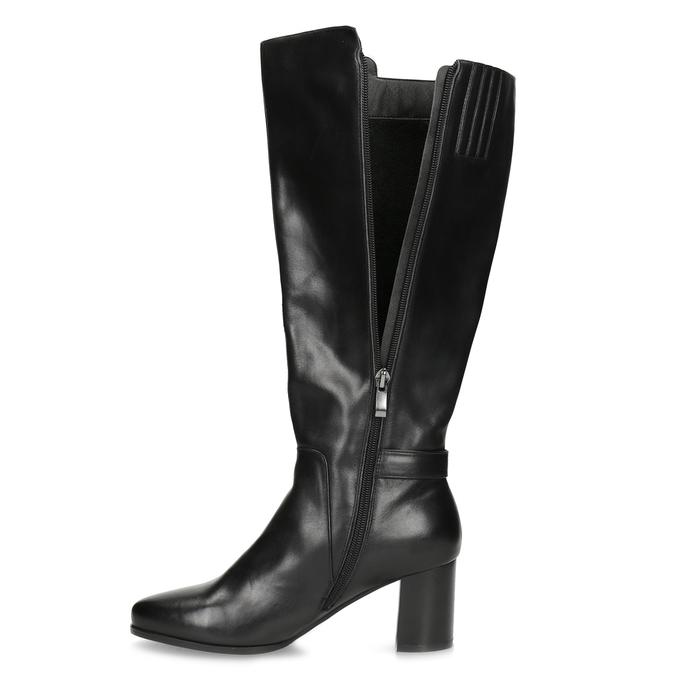Černé kožené kozačky s prošitím bata, černá, 694-6639 - 17