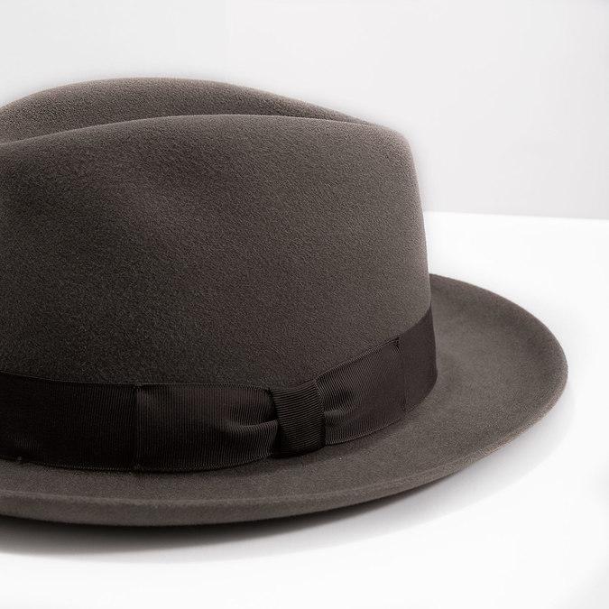 Pánský hnědý klobouk s mašlí tonak, hnědá, 909-3648 - 14