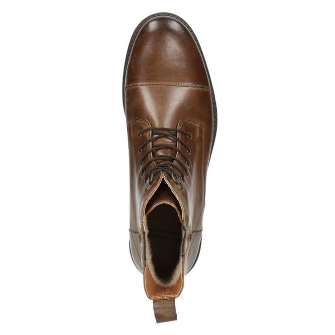 Kožená kotníčková obuv se zateplením bata, hnědá, 896-4662 - 26