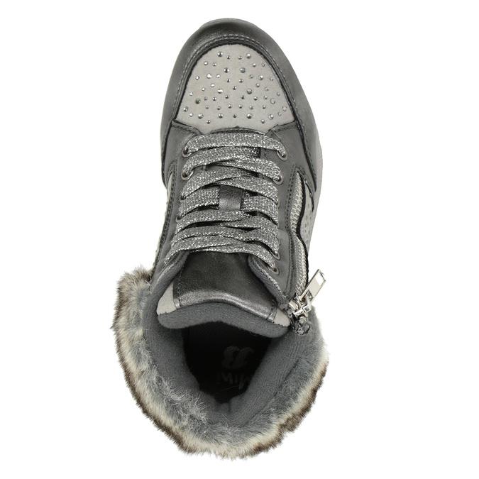 Stříbrná dívčí zimní obuv mini-b, šedá, 329-2287 - 15