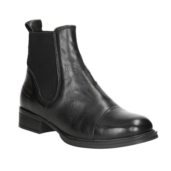 Kožená kotníčková obuv s pružnými boky ten-points, černá, 516-6091 - 13