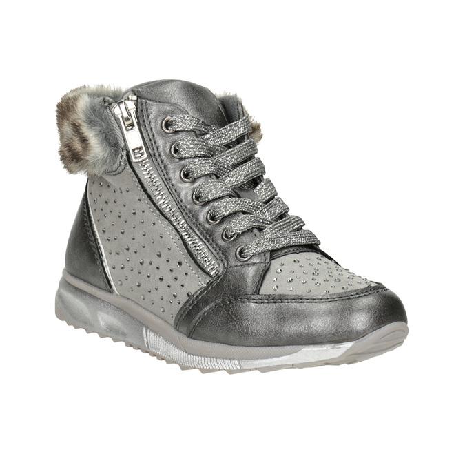 Stříbrná dívčí zimní obuv mini-b, šedá, 329-2287 - 13