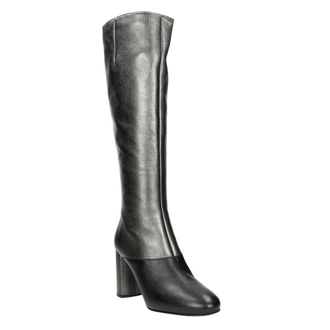 Kožené dámské kozačky classico-and-bellezza, stříbrná, 796-8027 - 13