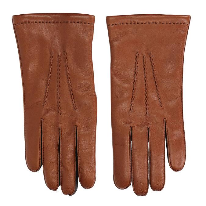 Pánské kožené rukavice hnědé junek, hnědá, 924-3031 - 26