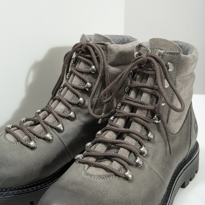 Kotníčková dámská kožená obuv weinbrenner, šedá, 596-2672 - 14