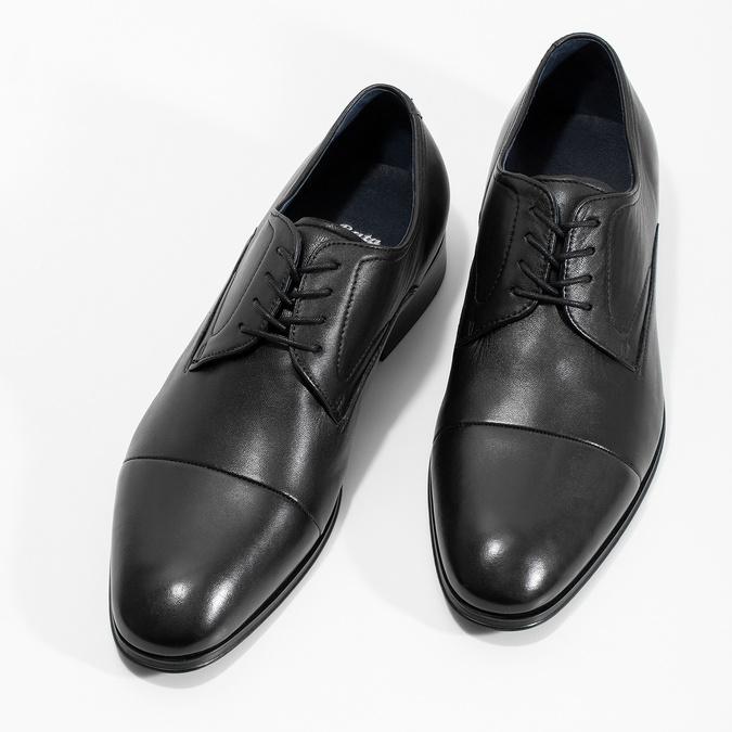 Pánské kožené černé Derby polobotky bata, černá, 824-6406 - 16