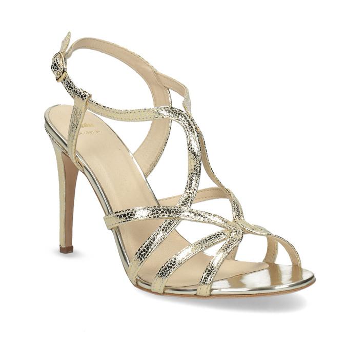 Zlaté společenské sandály z kůže bata, 726-8648 - 13