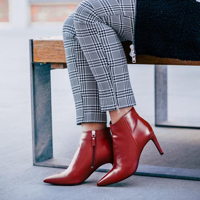 Kožená kotníčková obuv červená bata, červená, 794-5651 - 18