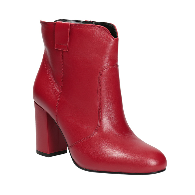 Červené kotníčkové kozačky z kůže bata, červená, 794-5652 - 13