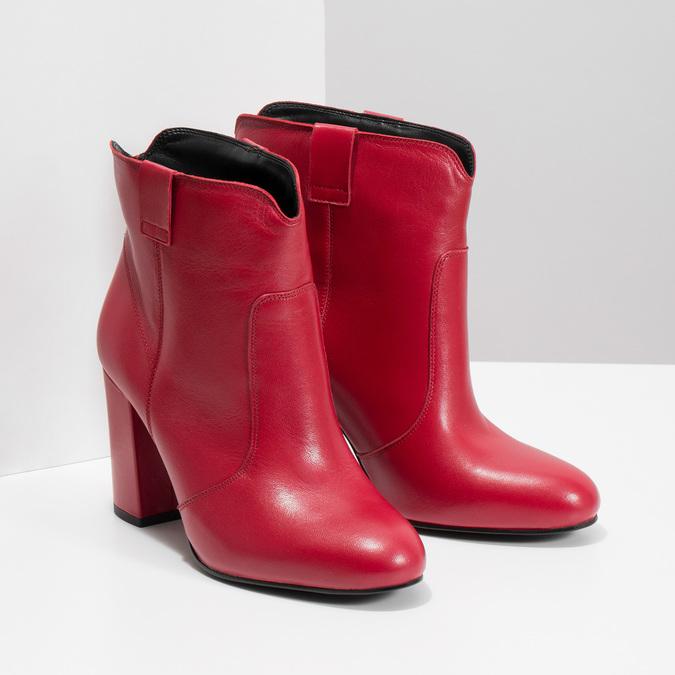 Červené kotníčkové kozačky z kůže bata, červená, 794-5652 - 26
