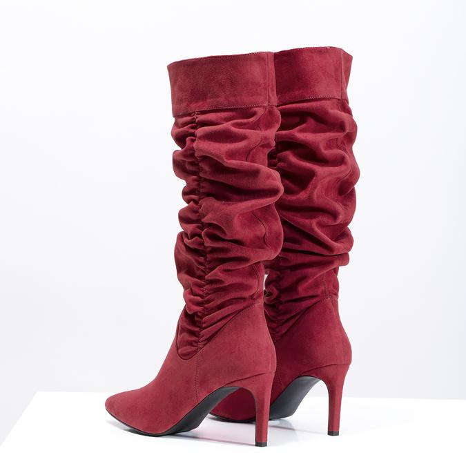 Dámské červené kozačky s řasením bata, červená, 799-5619 - 16