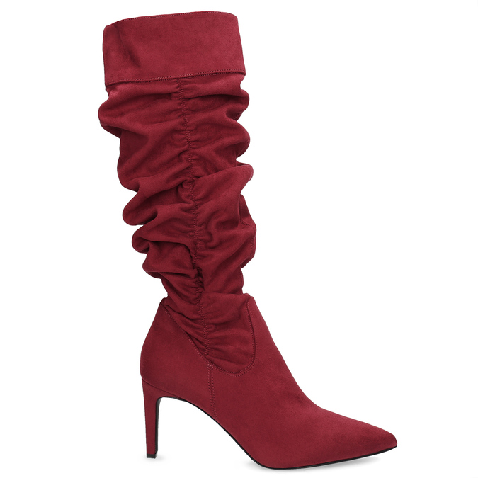 Dámské červené kozačky s řasením bata, červená, 799-5619 - 19