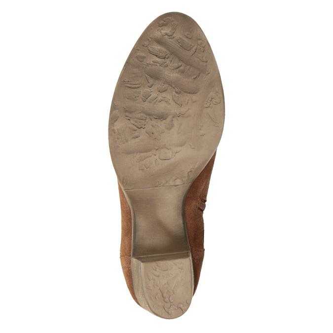 Kožené kotníčkové kozačky s výšivkou bata, hnědá, 696-4655 - 19