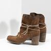 Kožené kotníčkové kozačky s výšivkou bata, hnědá, 696-4655 - 16
