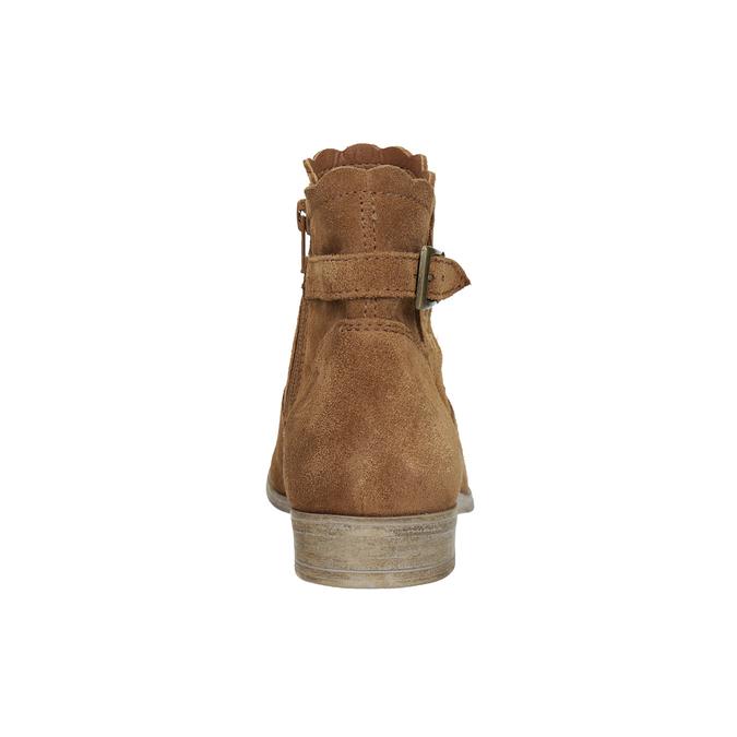 Kotníčkové kožené kozačky s výšivkou bata, hnědá, 596-4686 - 15