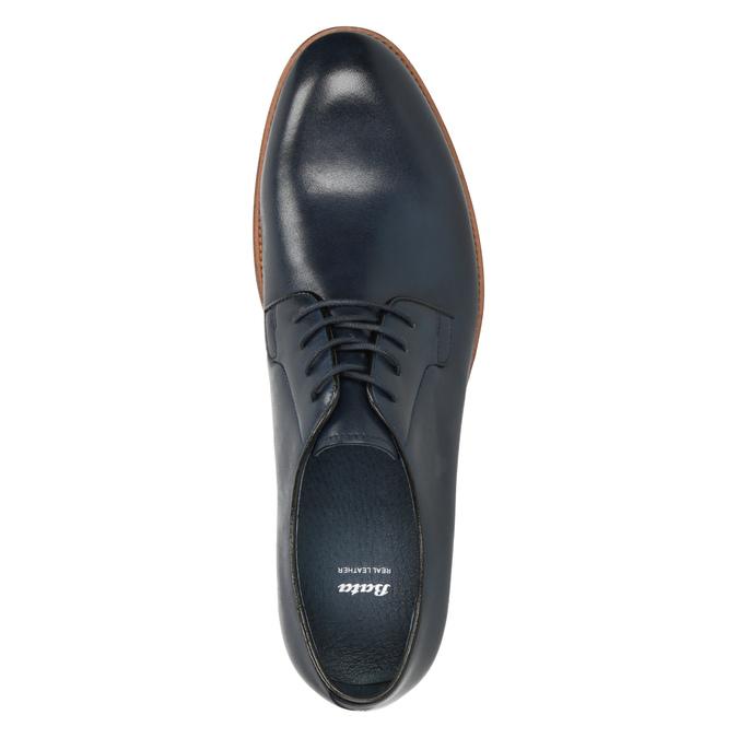 Modré kožené polobotky bata, modrá, 826-9810 - 15