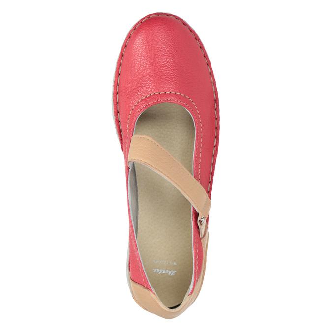 Kožené baleríny s páskem bata, červená, 526-5651 - 15