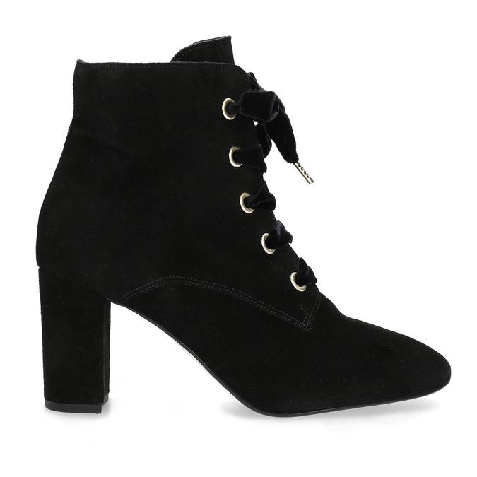 Kožené kotníčkové boty s mašlí bata, černá, 793-6613 - 19