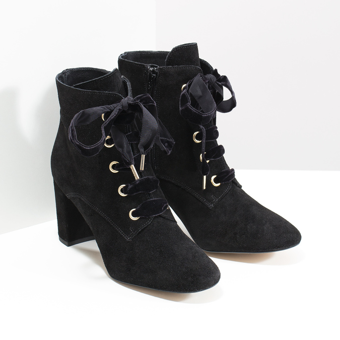 Kožené kotníčkové boty s mašlí bata, černá, 793-6613 - 26