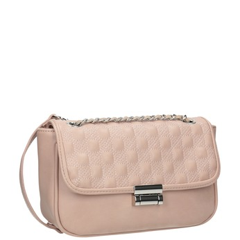 Crossbody kabelka s prošitím na klopě bata, růžová, 961-9826 - 13