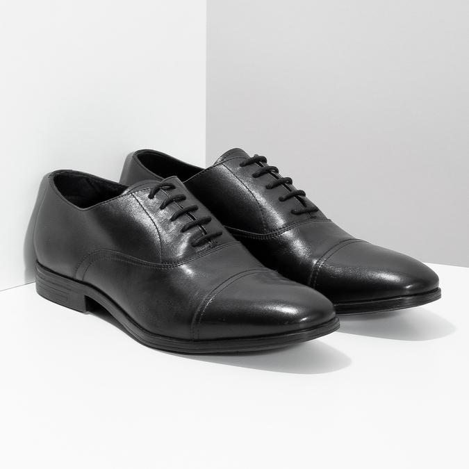 Černé kožené Oxford polobotky bata, černá, 824-6944 - 26